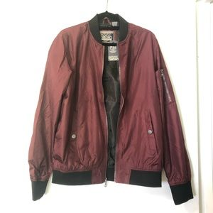 Civil Sektor Men's Maroon Bomber Jacket Size L NWT